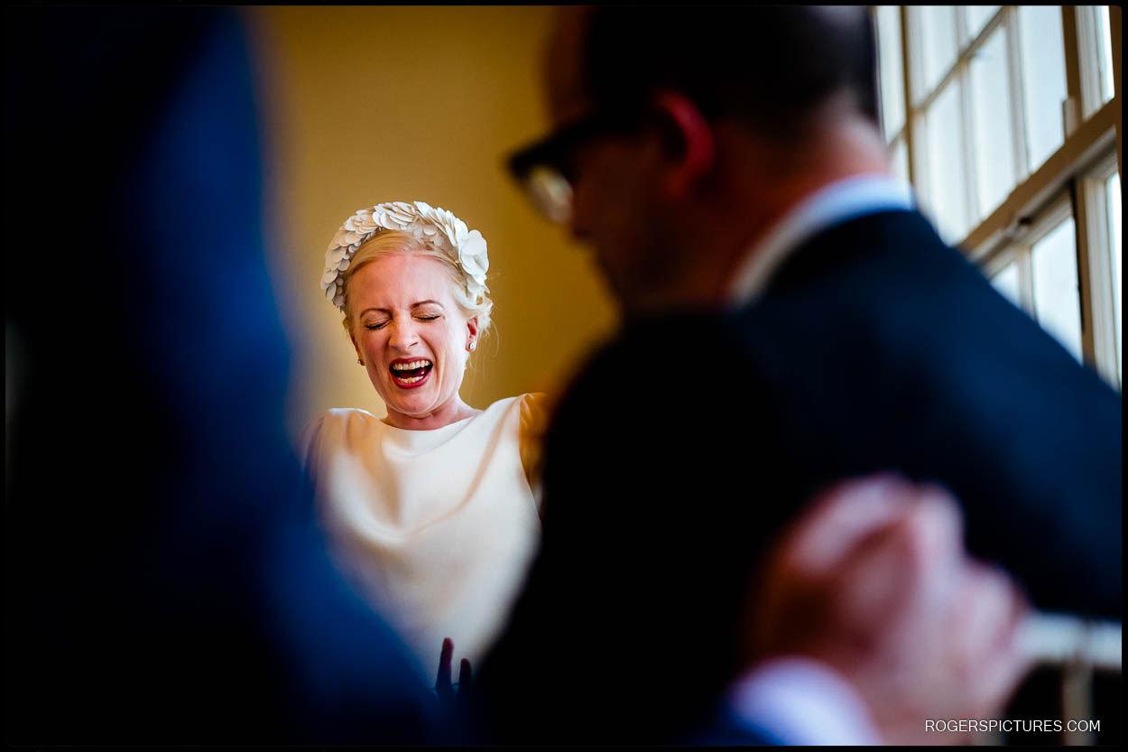 Bride enjoying her wedding in North London