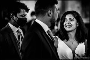 Bride sees groom at altar at church wedding in London