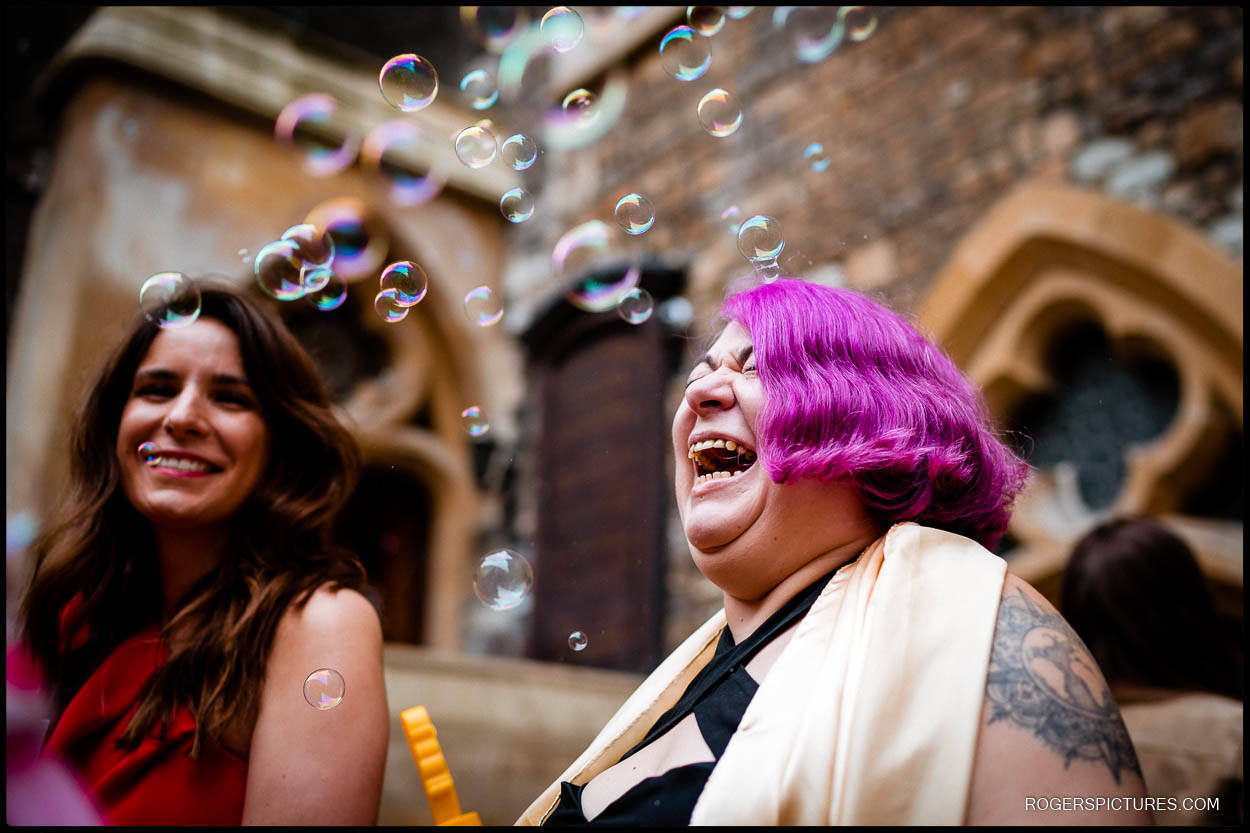 Wedding guest with purple hair
