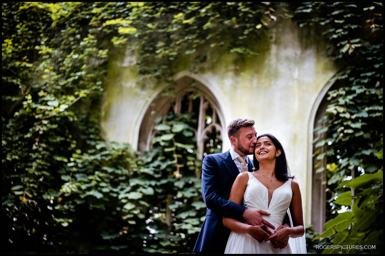 Couple portraits in London after wedding ceremony