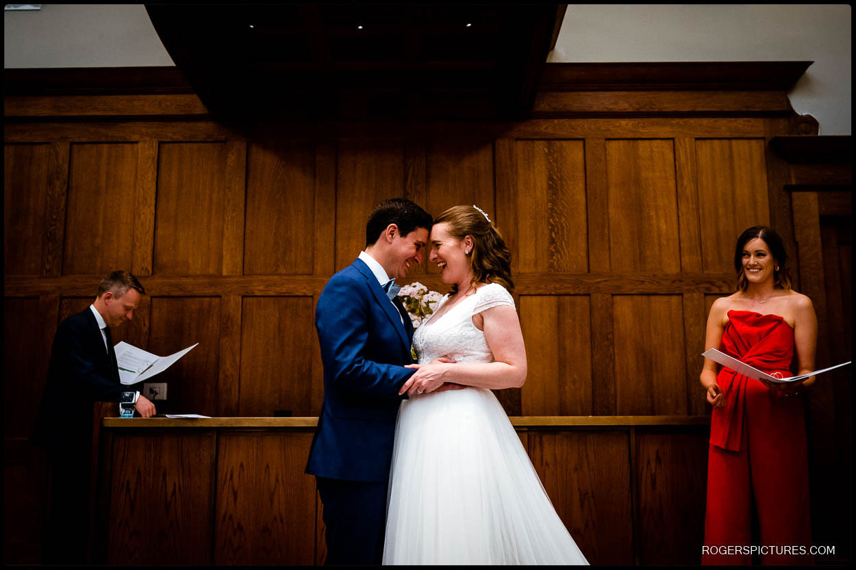 Bride and groom get married at the Dixon Hotel in London